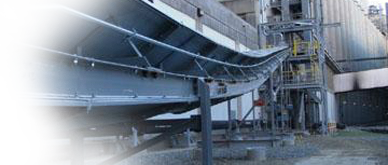 A belt on a grain elevator